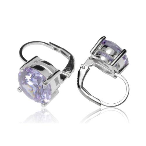Dámské stříbrné náušnice s fialovými kamínky TE1727F