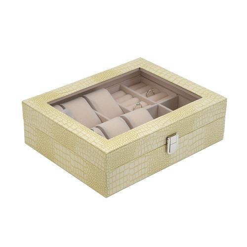 JK BOX SP-1814/A20, Dámská kazeta na hodinky a šperky krémová