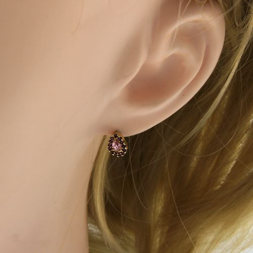 Dámské náušnice s růžovými kamínky 34912