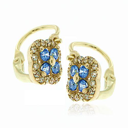 Dětské zlaté náušnice s modrým kamínkem 239100613M
