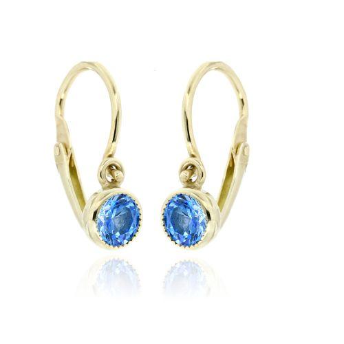 Dětské zlaté náušnice s modrým kamínkem 236001520M