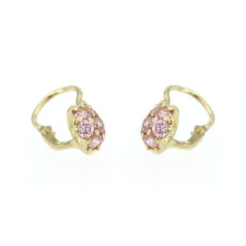 Zlaté dětské náušnice s růžovými kamínky 236041182