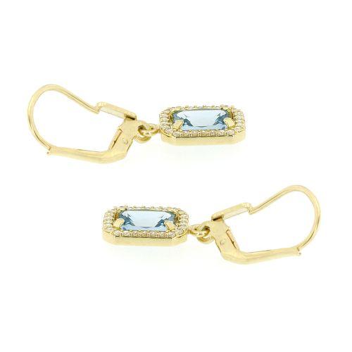 Zlaté dámské náušnice s akvamarínem 236041214