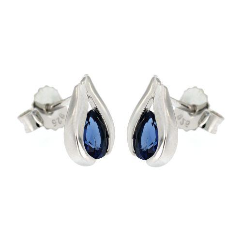 Stříbrné náušnice s modrým kamínkem 11068