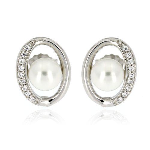 Stříbrné náušnice s perlou a zirkony 10943
