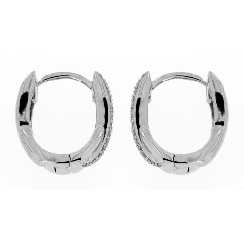Stříbrné náušnice oválné kroužky se zirkony 9705
