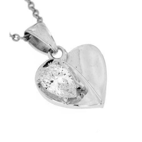 Stříbrný přívěsek srdíčko s bílým kamínkem 6793