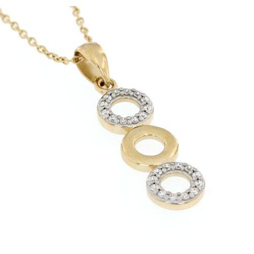 Zlatý přívěsek s bílými kamínky 491