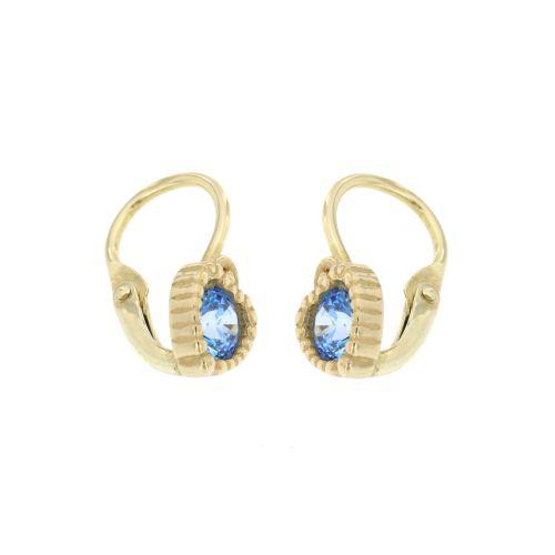 Dětské zlaté náušnice modrá srdíčka 938M
