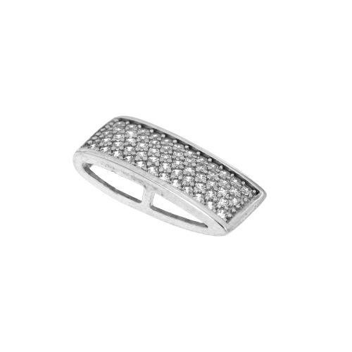 Stříbrný přívěsek s bílými kamínky PMDA76
