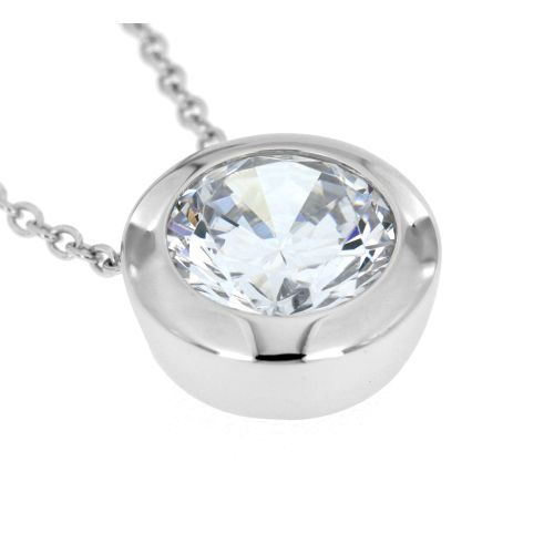 Stříbrný náhrdelník s bílým zirkonem 437ZR