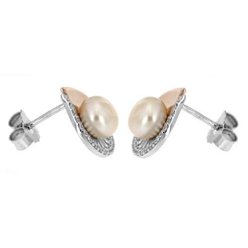 Stříbrné náušnice s perlou 15ZW
