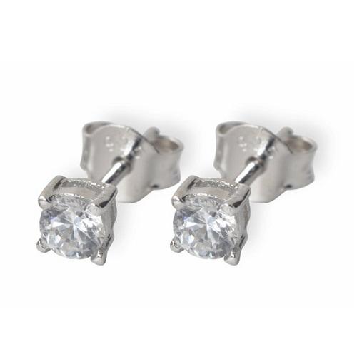 Dámské stříbrné náušnice s bílými zirkony TE9857