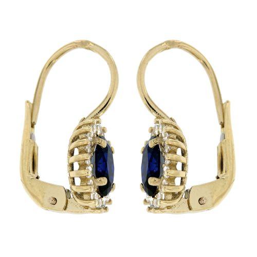 Zlaté náušnice s modrým kamínkem 105ŽM