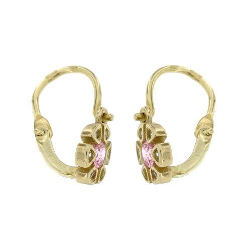 Zlaté dětské náušnice růžové kytičky 817žr
