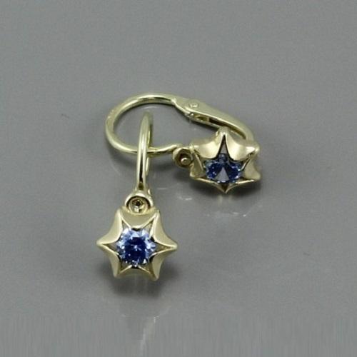 Dětské zlaté náušničky s modrým kamínkem 2159
