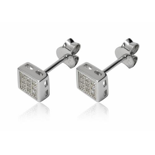 Dámské stříbrné náušnice čtverečky AE879