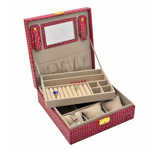 JK BOX SP-826/A7, Dámská šperkovnice světle bordová
