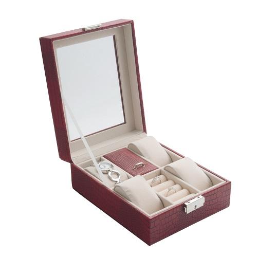 JK BOX SP-1810/A7, Dámská kazeta na hodinky a šperky červená