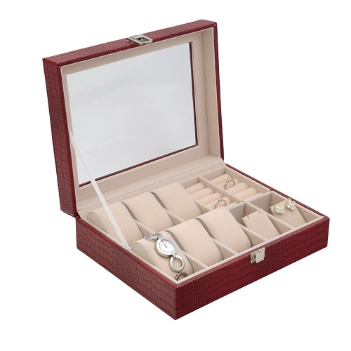 JK BOX SP-1814/A7, Dámská kazeta na hodinky a šperky červená