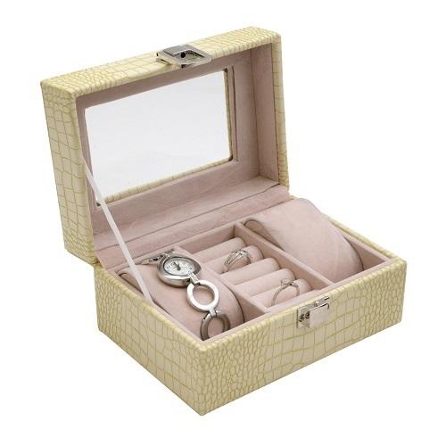 JK BOX SP-1813/A20, Dámská kazeta na hodinky a šperky krémová