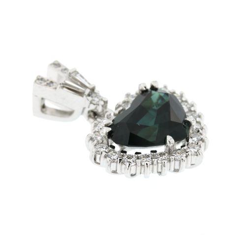 Dámský zlatý přívěsek se safírem a diamanty 30586-18