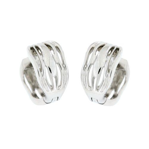 Stříbrné náušnice kroužky s bílými zirkony AE10626