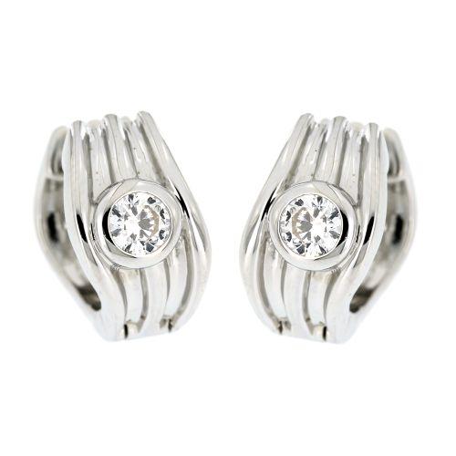 Stříbrné náušnice s bílým kamínkem AE10728