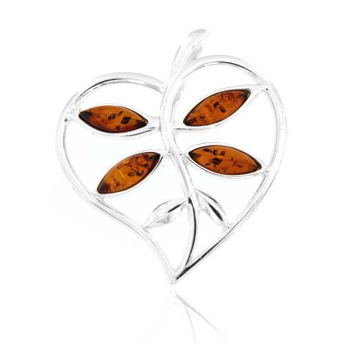 Stříbrný přívěsek srdce s jantarem 167