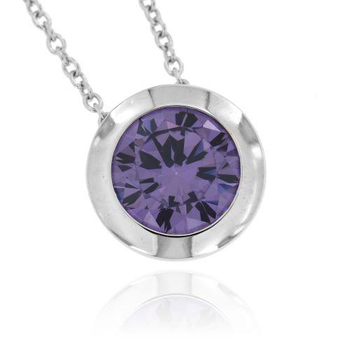 Stříbrný náhrdelník s fialovým zirkonem 467AZR