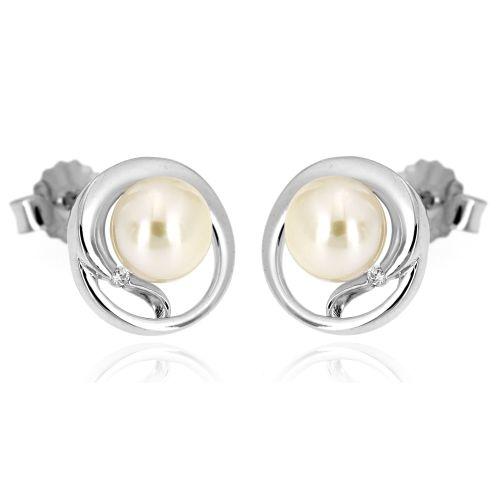 Stříbrné perlové náušnice 98ZW