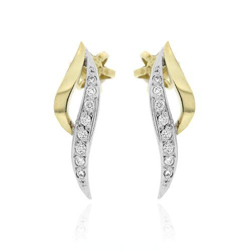 Zlaté diamantové náušnice lístečky 33681