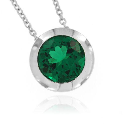 Stříbrný náhrdelník se zeleným kamenem 67
