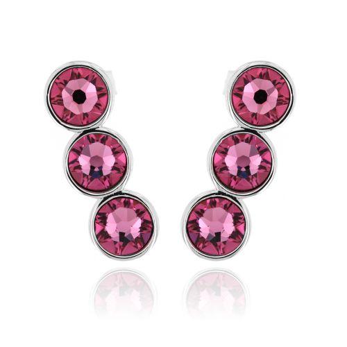 Stříbrné náušnice s růžovými kamínky