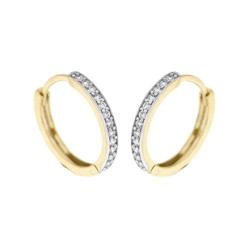 Zlaté kroužky s bílými kamínky 5028