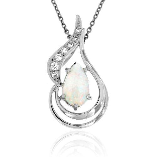 Dámský zlatý přívěsek s opálem a diamanty 32465