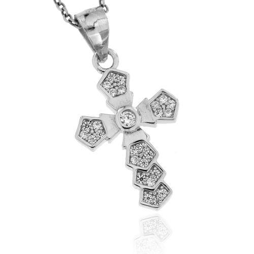 Stříbrný přívěsek křížek 3045