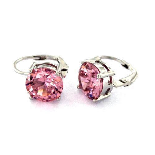 Dámské stříbrné náušnice s růžovými kamínky TE1727R