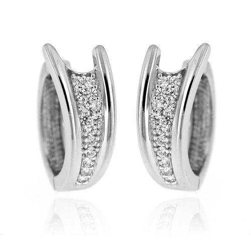 Stříbrné náušnice kroužky s kamínky MDB0441